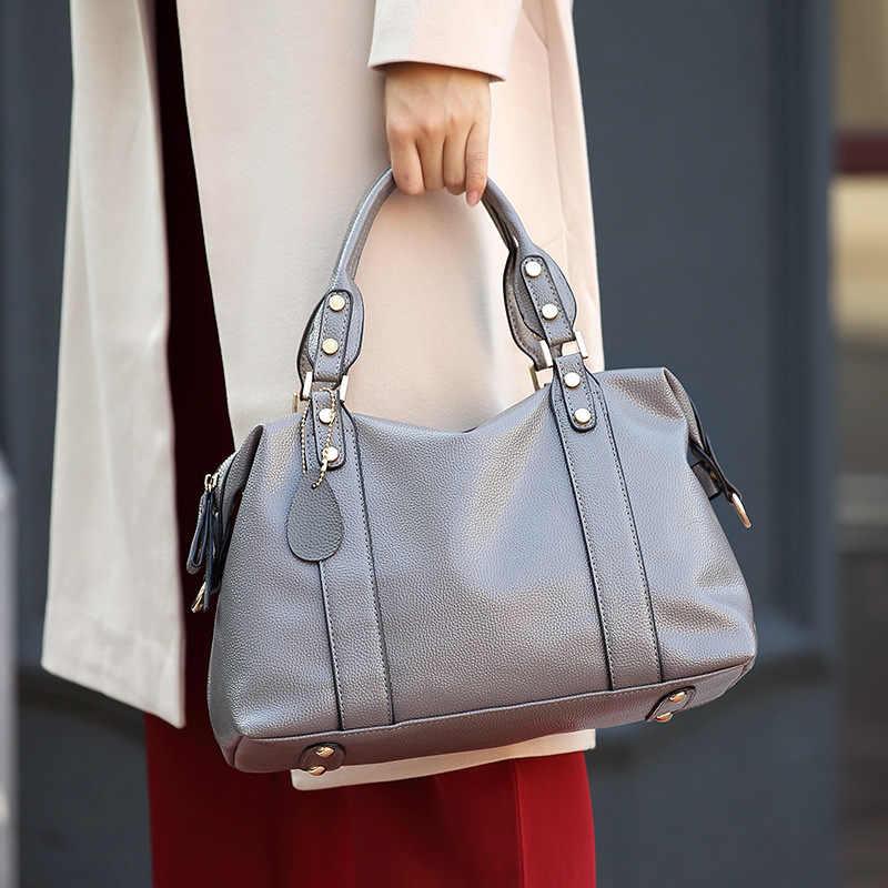 Shengxilu 2018 Nova Primavera Outono Tendência Das Mulheres Sacos de Couro Bolsas de Marca de Moda Feminina Cinza Senhoras Ombro Sacos Crossbody