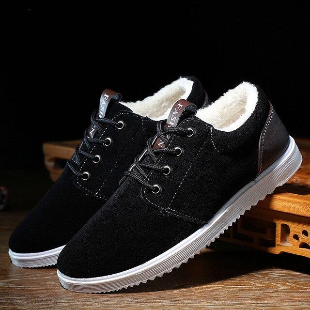 Zapatos de invierno hombres botas impermeables 2016 zapatos calientes de la felpa corta piso barato con botines suede ankle boots hombres de nieve 39-44