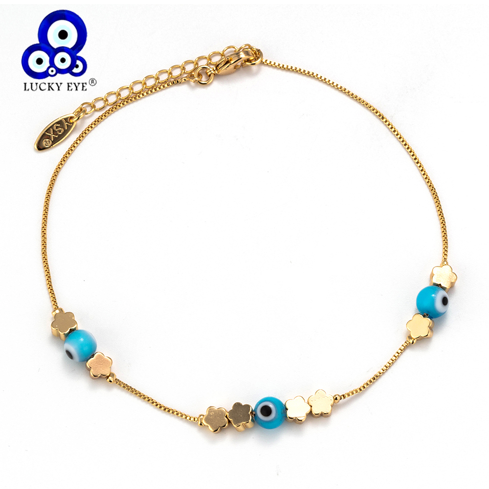 Lucky Eye Blue Evil Eye Heart Anklets Barefoot Crochet Sandals Foot Jewelry Flower Anklets Bracelets For Women Leg Chain EY6103