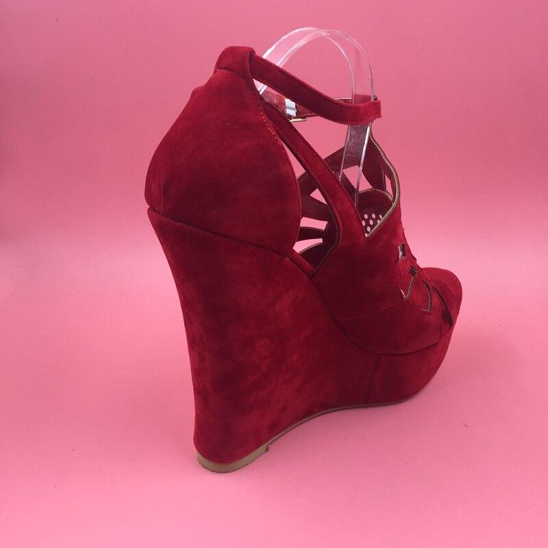 Gran Rojo Colores multiple Imagen Abierta Mujeres Cuñas Tamaño Zapatos Las De Tacón Hueco rojo Alto Mujer 14 Sandalias Real Sandalia Punta Azul gwZ5qa