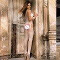 Sleeveless Fishnet Chemise Garters Body Stocking Nightwear body stocking stripper delicate paper box package bodystocking sexy