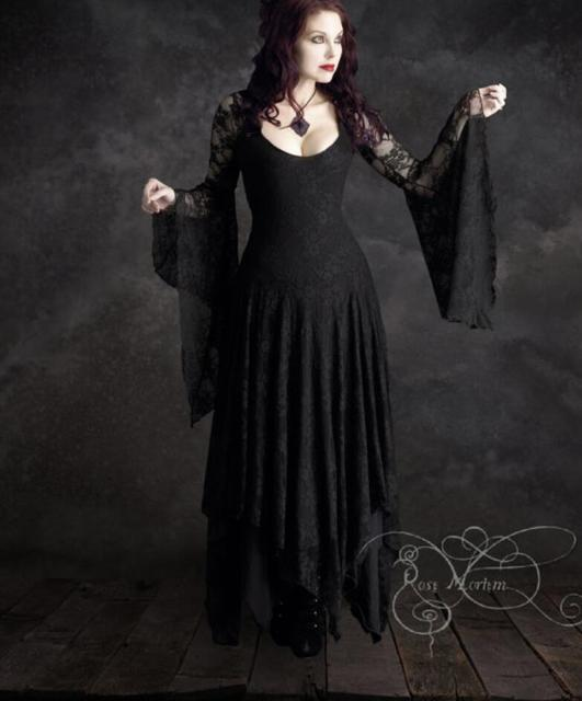Black Wedding Gowns For Sale: Vintage Lace Long Sleeves Black Gothic Long Wedding