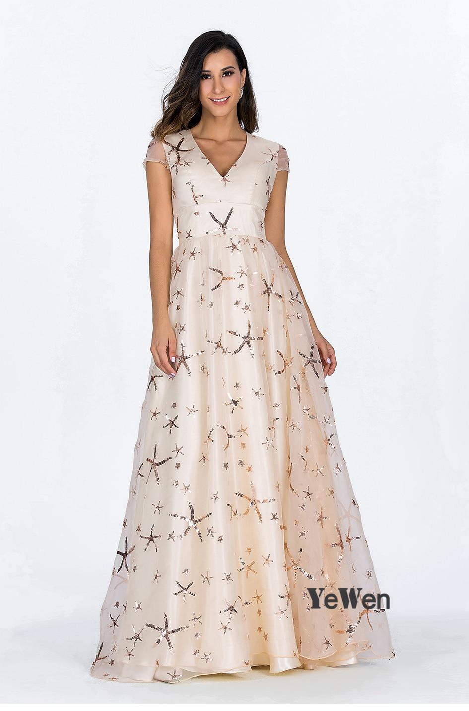 95d5bcacab6fe US $161.49 15% OFF Stars Silk satin Short Sleeve Evening Dresses Long 2018  abendkleider Party gala dress elegant Prom evening gown Robe Soiree -in ...