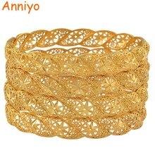 Anniyo 4 unids/lote, brazalete de boda de Color dorado Etíope para mujer pulsera de novia de Dubái artículos de joyería africana de Oriente Medio #088206
