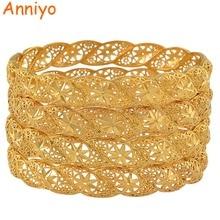 Anniyo 4Pieces/Lot, Ethiopian Gold Color Wedding Bangle for Women Dubai Bride Bracelet African Jewelry Middle East Items #088206
