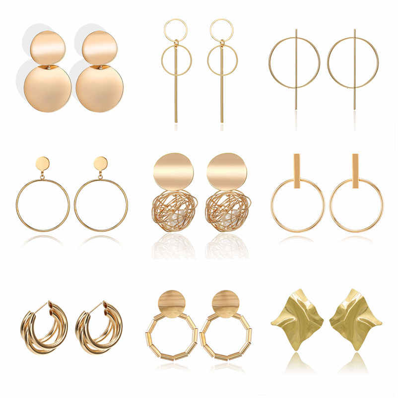 Fashion Statement Earrings 2019 Metal Round Geometric Earrings For Women Hanging Dangle Earrings Drop Earing Modern Jewelry Pun