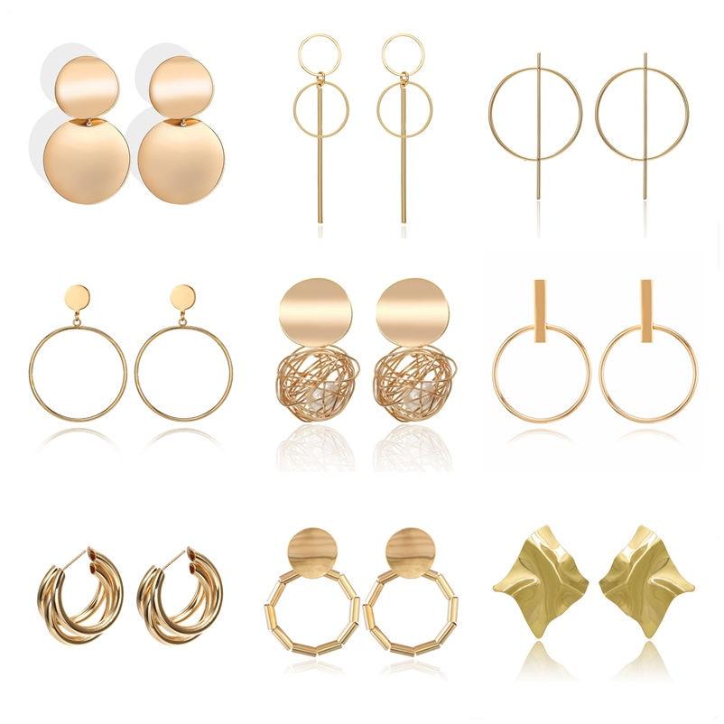 Fashion Statement Earrings 2019 Metal Round Geometric Earrings For Women Hanging Dangle Earrings Drop Earing Modern Jewelry Pun