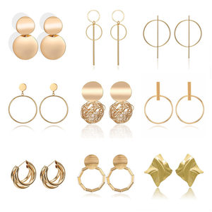 Fashion Statement Earrings Metal Round Geometric Earrings For Women Hanging Dangle Earrings Drop Earing Modern Jewelry Punk(China)