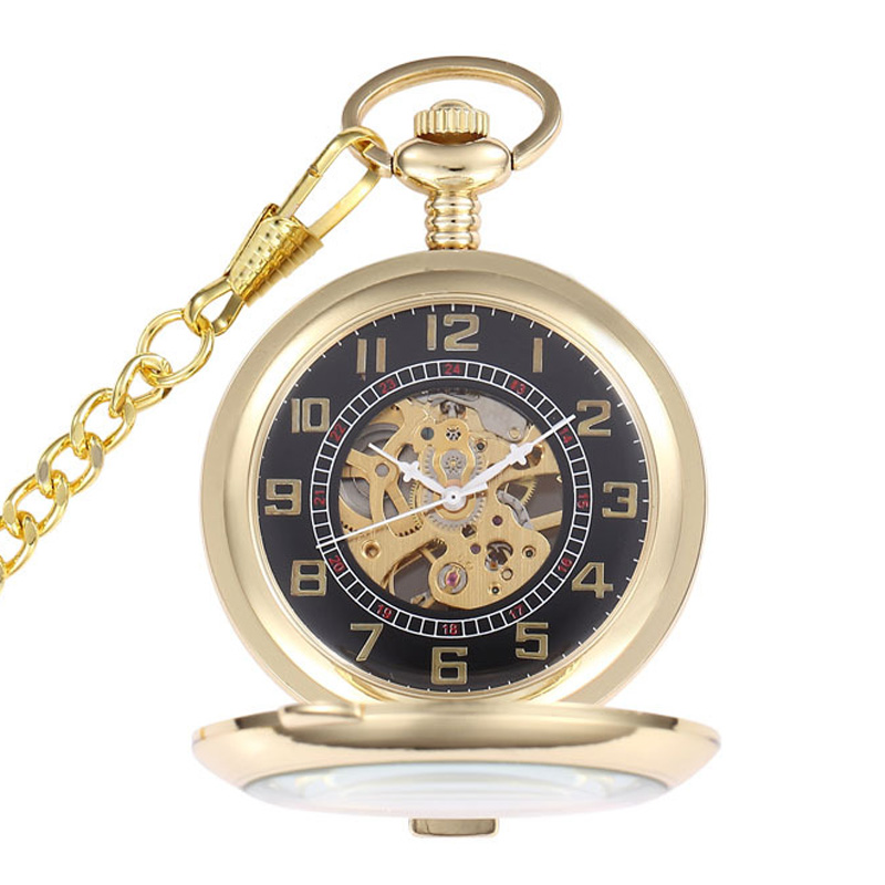 Luxury Gold Mechanical Pocket Watch Mens Roman Arabic Numberal Steampunk Mechanical Pocket Fob Watches Chain Relogio De Bolso