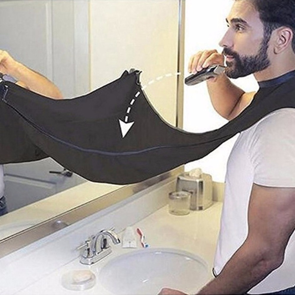 Compact Size Waterproof Beard Shave Apron Solid Color Men Household Bathroom Beard Trimming Apron Hair Shave Apron Styling Tools
