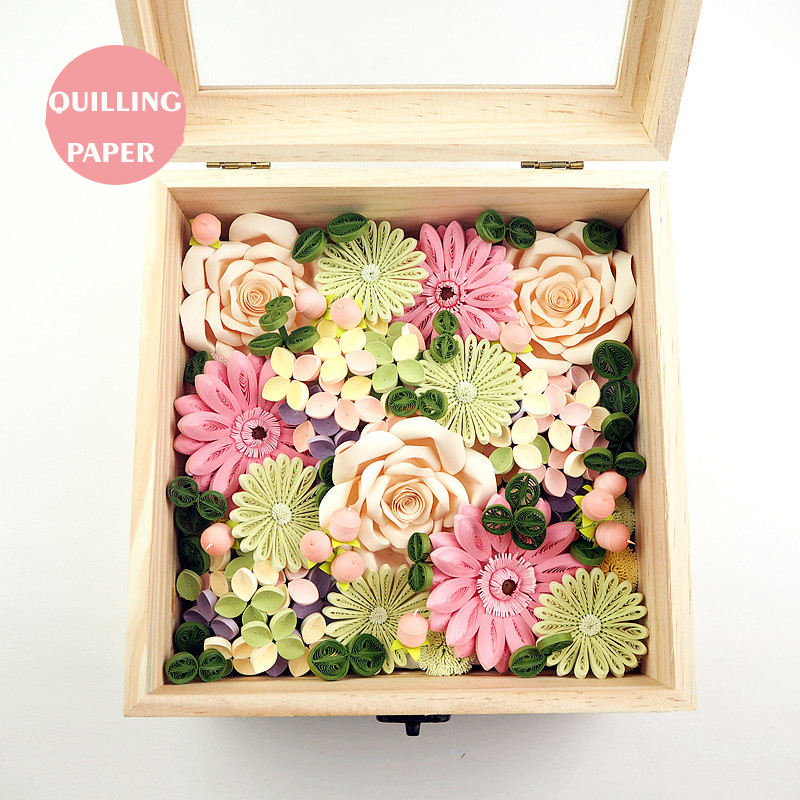 free shipping 1 pcslotwooden preserved fresh flower frame box quilling paper