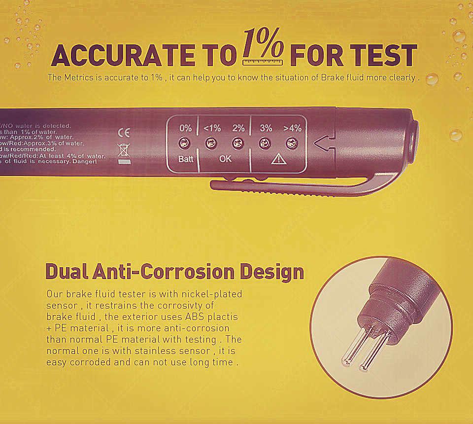正確なオイル品質チェックペンユニバーサルブレーキフルードテスター車ブレーキ液デジタルテスター車両オート自動車テストツール