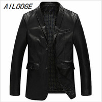 AILOOGE New Arrivals Business 8XL Mens Leather Suede Jackets and Coat Street Wear Single Breasted Spring Mens PU Trench Coats