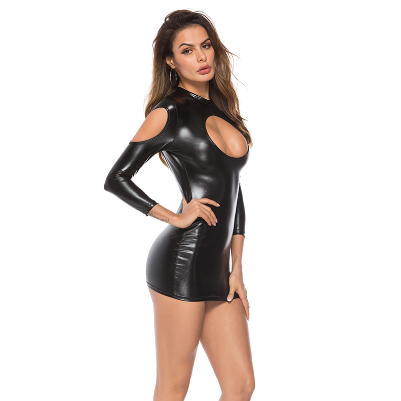Pu Faux Leather Erotic Club Mini Skirt Women Wetlook Dress Hot Lingerie Sexy Clubwear Pvc Latex Catsuit Shiny Dress Pole Costume