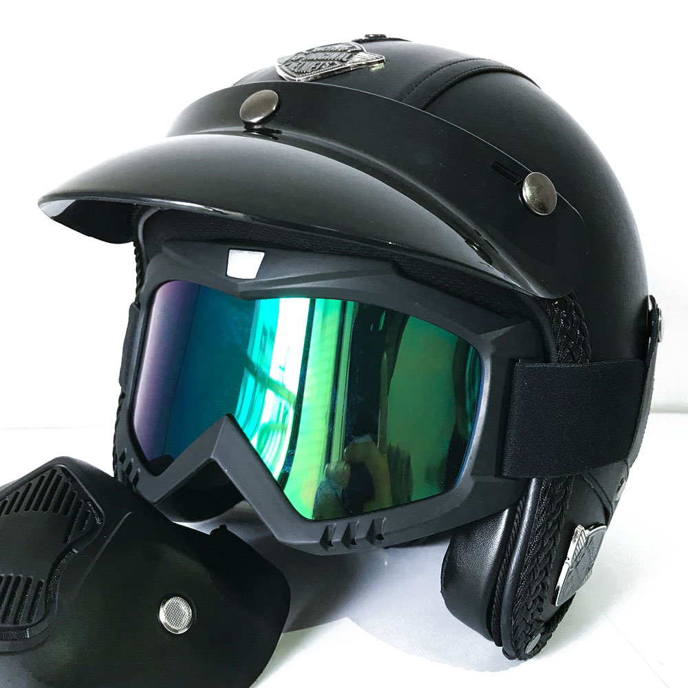Vintage Full Face Motorcycle Helmets Motorbike Scooter Mask Accessories for Harley Yamaha Honda etc Retro Moto Motocross Helmets