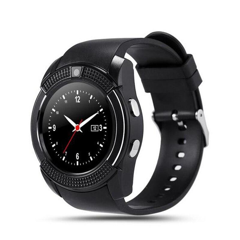 imágenes para Wearable dispositivos v8 smart watch conectividad bluetooth para el teléfono android soporte sim/tf tarjeta de mujeres de los hombres de pulsera del deporte