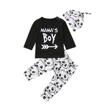 цена на 3Pcs Fashion Newborn Baby Boys Clothing Long Sleeve T-Shirt Top Panda Leggings Hat Autumn Baby Clothes Set Outfit new