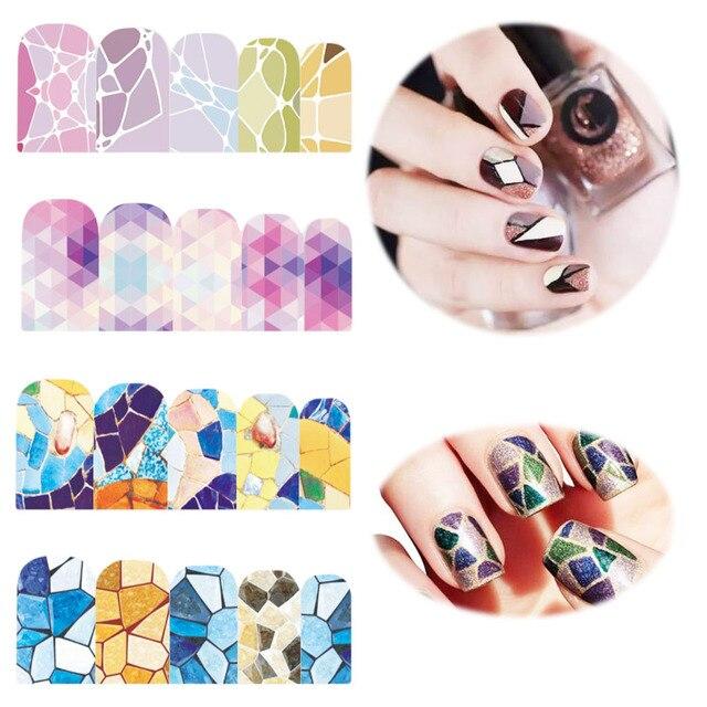 12 Ontwerpenpcs Geometrie Marmer Gradint Nail Art Water Transfer