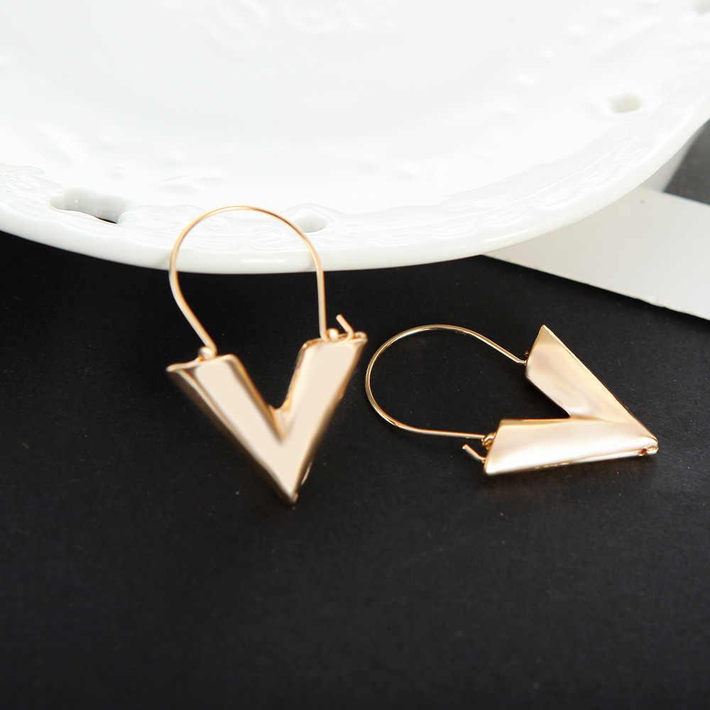 2018 Korean Fashion Jewelry Letter V Pendant Earrings Silver Gold Pendant Earrings Alloy Geometric Women's Elegant Earrings