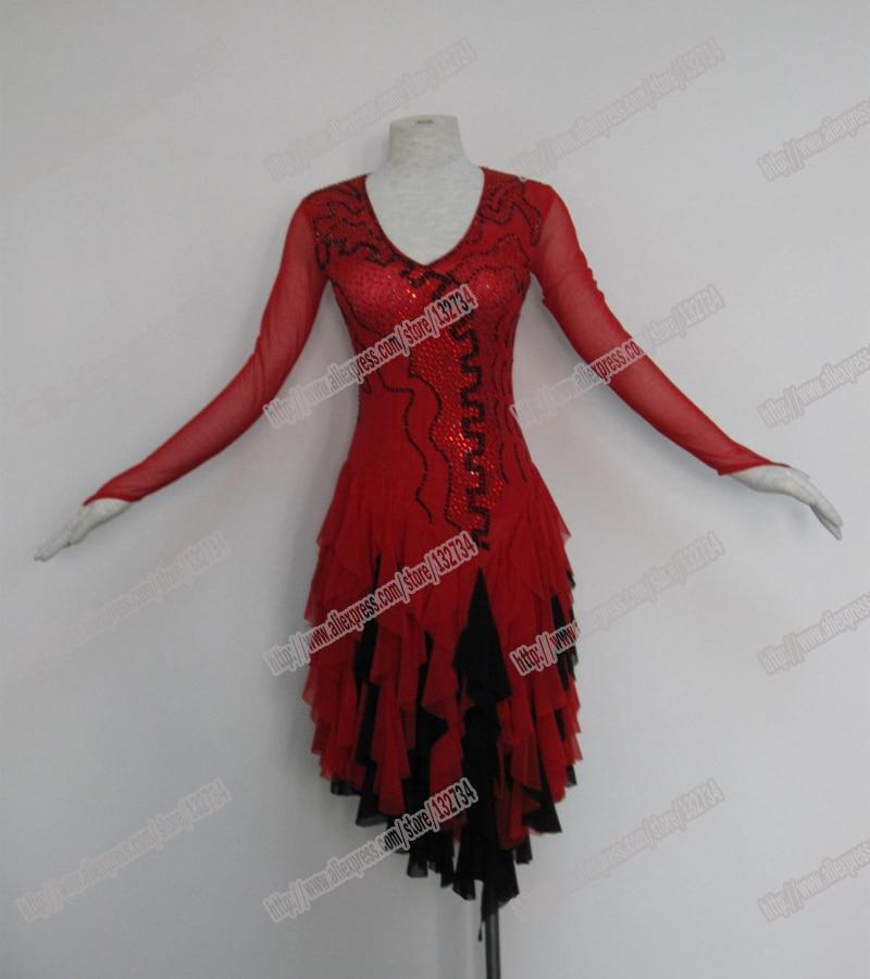 فستان لاتيني جديد تنافسي ، أحجار كريستال تشاتشا ، رقص السالسا ، فستان رقص ، فستان أحمر لاتيني ، ازياء راقصة ، أعلى المبيعات