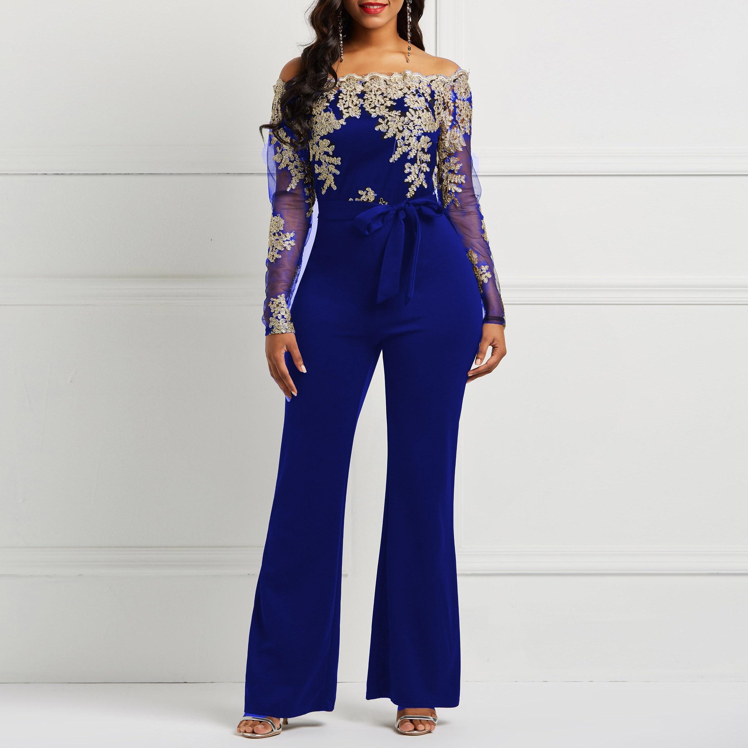 d531c878396 Off Shoulder Sexy Jumpsuit Women Wide Leg Pants Autumn Floral Lace Mesh  Sleeve Belt Skinny Elegant