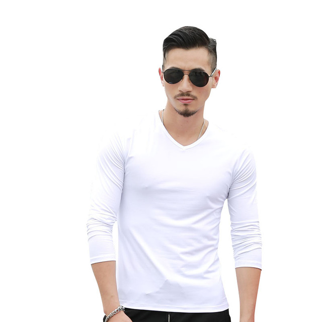 b4c5175fc15 NIBESSER Brand Long Sleeve T-Shirts Men Solid V-neck Plain Casual Bottom Men s  Tee shirt Male Tops Autumn Winter T-Shirts Tops