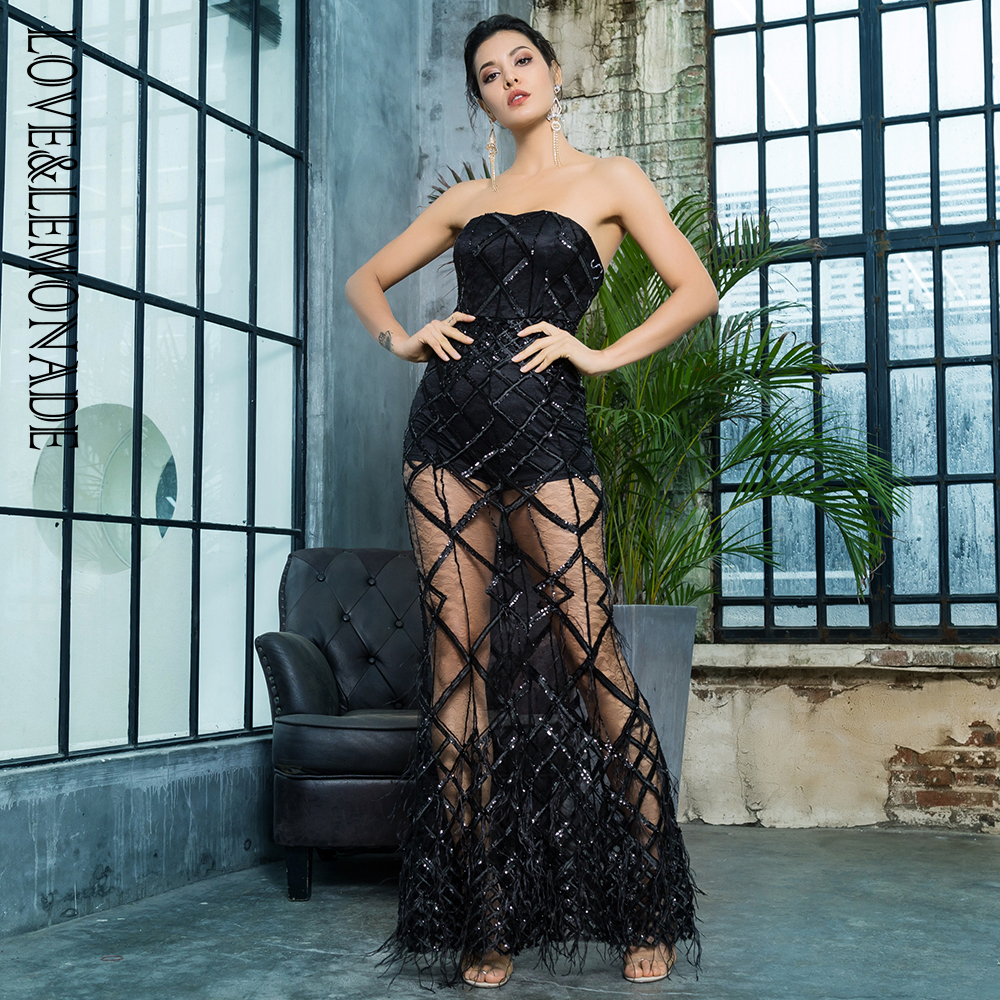 Love Lemonade Black Strapless Geometric Sequins Feathers Long Dress LM81292BLACK