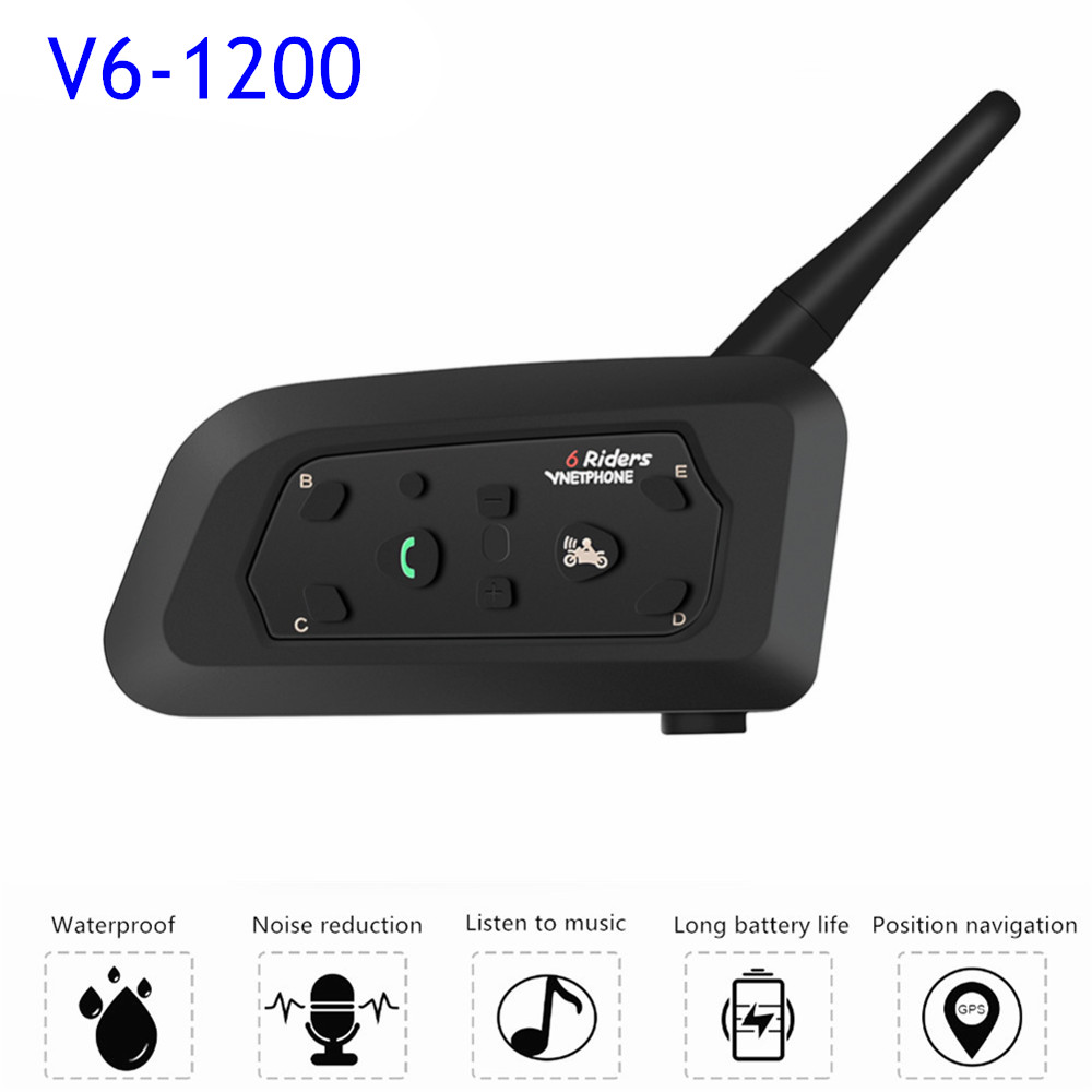 New Upgraded V6 Motorcycle Intercom Wireless Bluetooth Helmet Headsets 1200M Interphone Intercomunicador Headset For 6 Riders