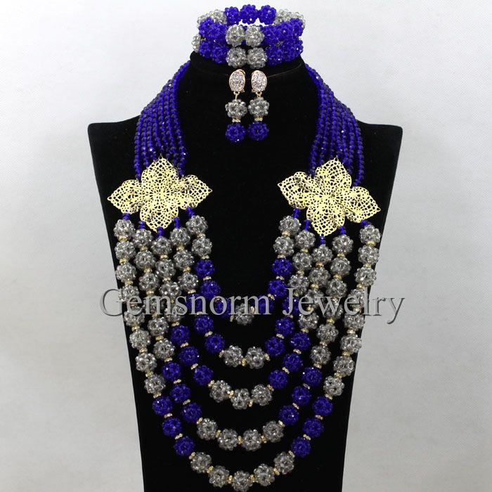 Luxury Royal Blue grey Women Costume Necklaces Set Nigerian Wedding African Beads Crystal Jewelry Set Balls Free Ship WA422Luxury Royal Blue grey Women Costume Necklaces Set Nigerian Wedding African Beads Crystal Jewelry Set Balls Free Ship WA422