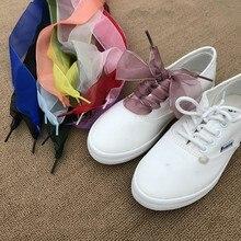 1 Pair 110 cm Organza stringhe di Pattino Delle Donne Arco Lacci Delle  Scarpe Piatto Nastro di Raso di Seta scarpe di tela lacci. 90f7bdb1ad4