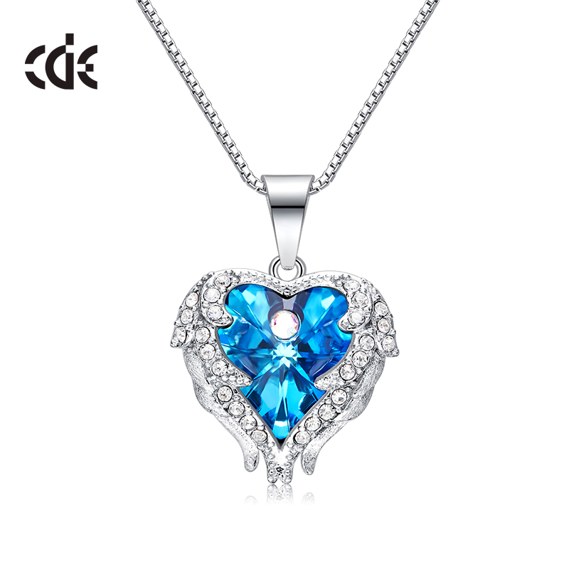 aed76c21593ef CDE Crystals from Swarovski 925 Sterling Silver Necklace And Pendants  Jewelry For Women Angel Wings Necklaces Heart Jewelry