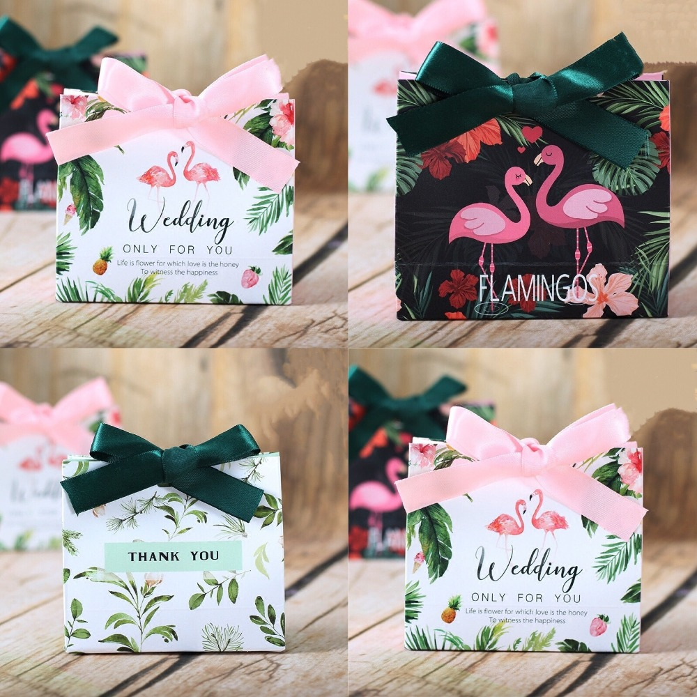 30 Pcs European Creative Flamingo Forest Leaf Wedding Favors Candy