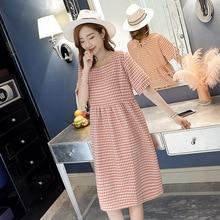 5785c6284 8821   Vintage pequeños cuadros de lino de algodón vestido de maternidad  dulce verano ropa para mujeres embarazadas elegante emb.