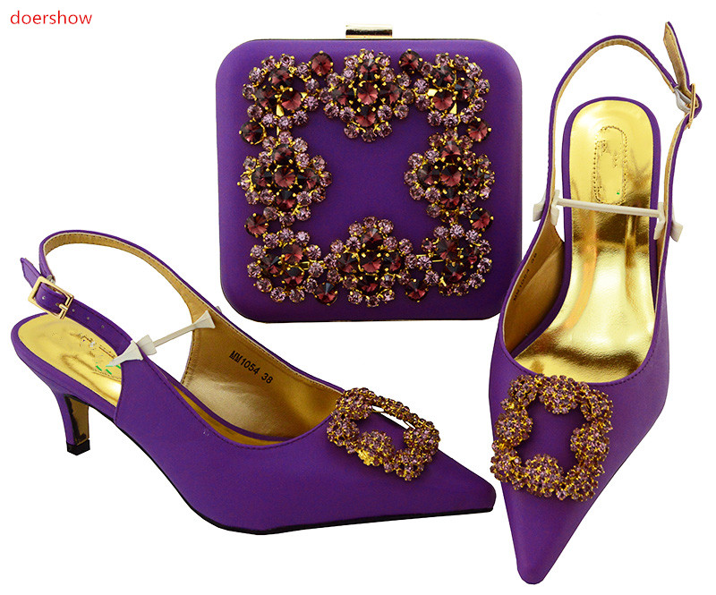doershow Matching Italian Shoe and Bag Set Italian Shoes with Matching Bag purple Shoe and Matching Bag Women Shoe and bagSIU1-4