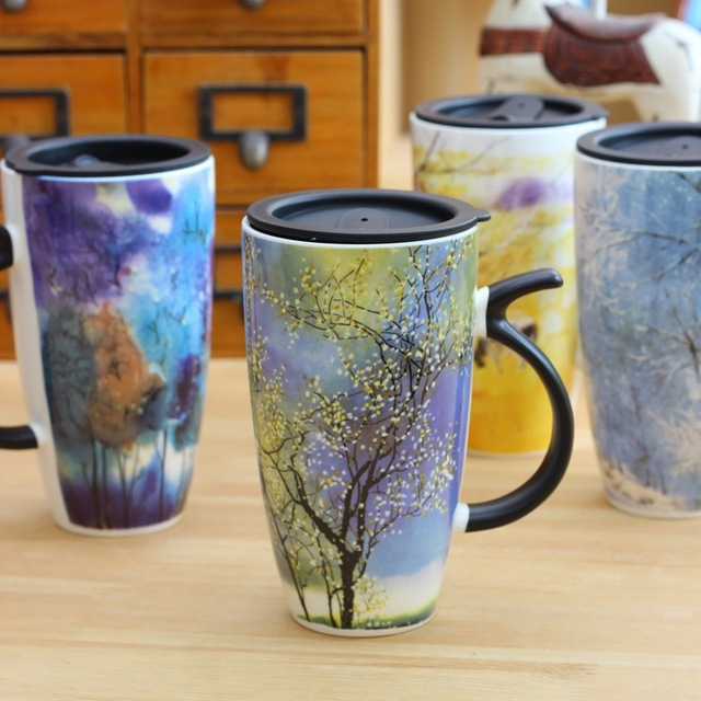 Nice Ceramic Mugs For Sale Part - 7: New Sale Creative Gifts Zakka Designs Large Handmade Painted Decorating Ceramic  Mugs And Cups With Lid