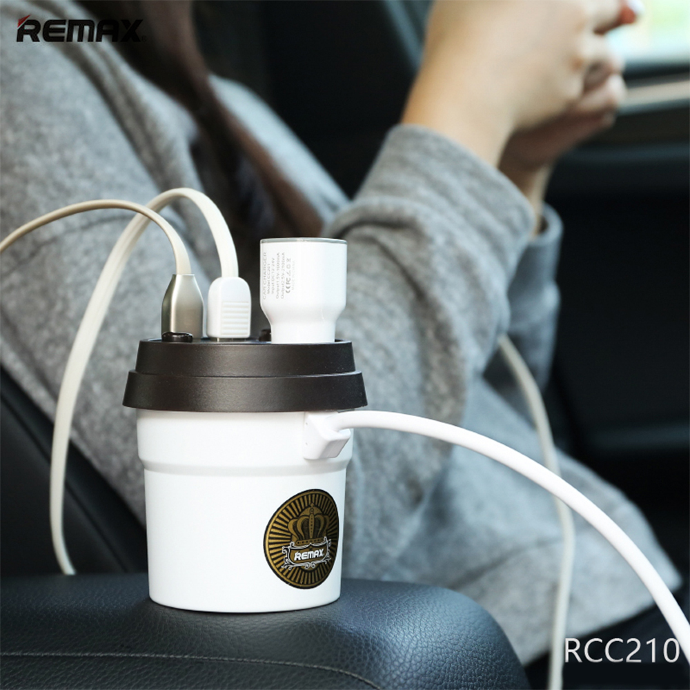 Remax 3A Coffee Cup Car Charger Cigarette Lighter Adapter LED display Dual USB Car Charger For xiaomi redmi 5 iphone 5s Charger