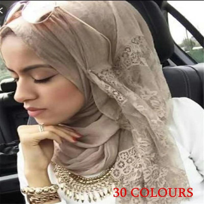 2020 30 Colors Fashion Luxury Lace Scarf Hijab Woman Plain Maxi Shawl Embroider Flower Lace Foulard Pretty Muslim Hijabs Scarfs