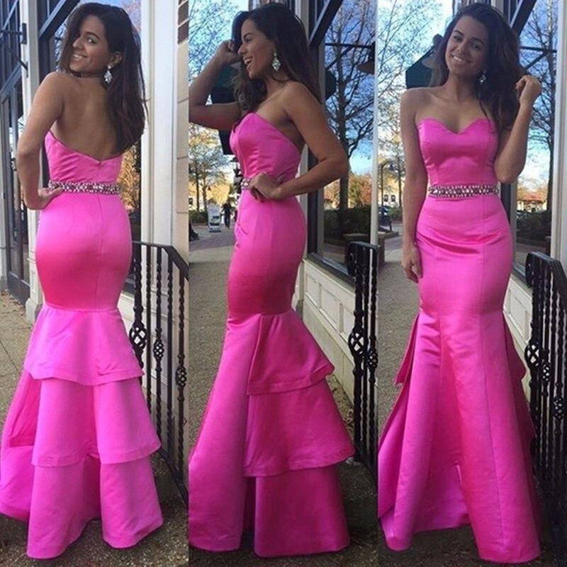 Coral Sirena Larga Prom vestidos de Novia Partido Vestido de noche ...