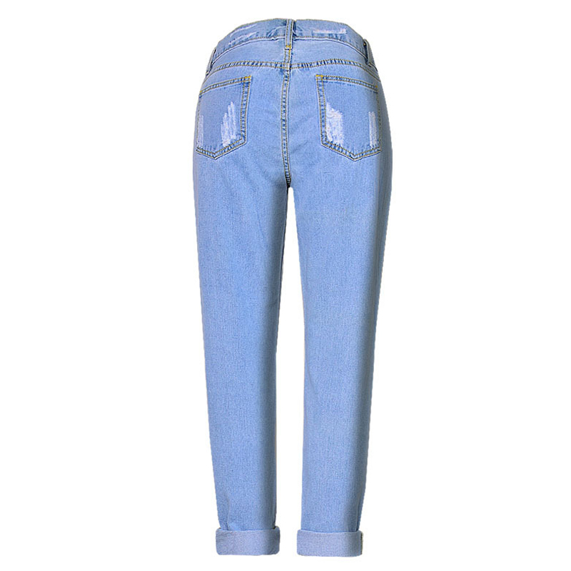 0c7eb6bba01 Aliexpress.com   Buy Jessie Vinson Fashion Scratched Straight Ripped High  Waist Jeans Plus Size Light Blue Denim Pants Loose Trousers for Women from  ...