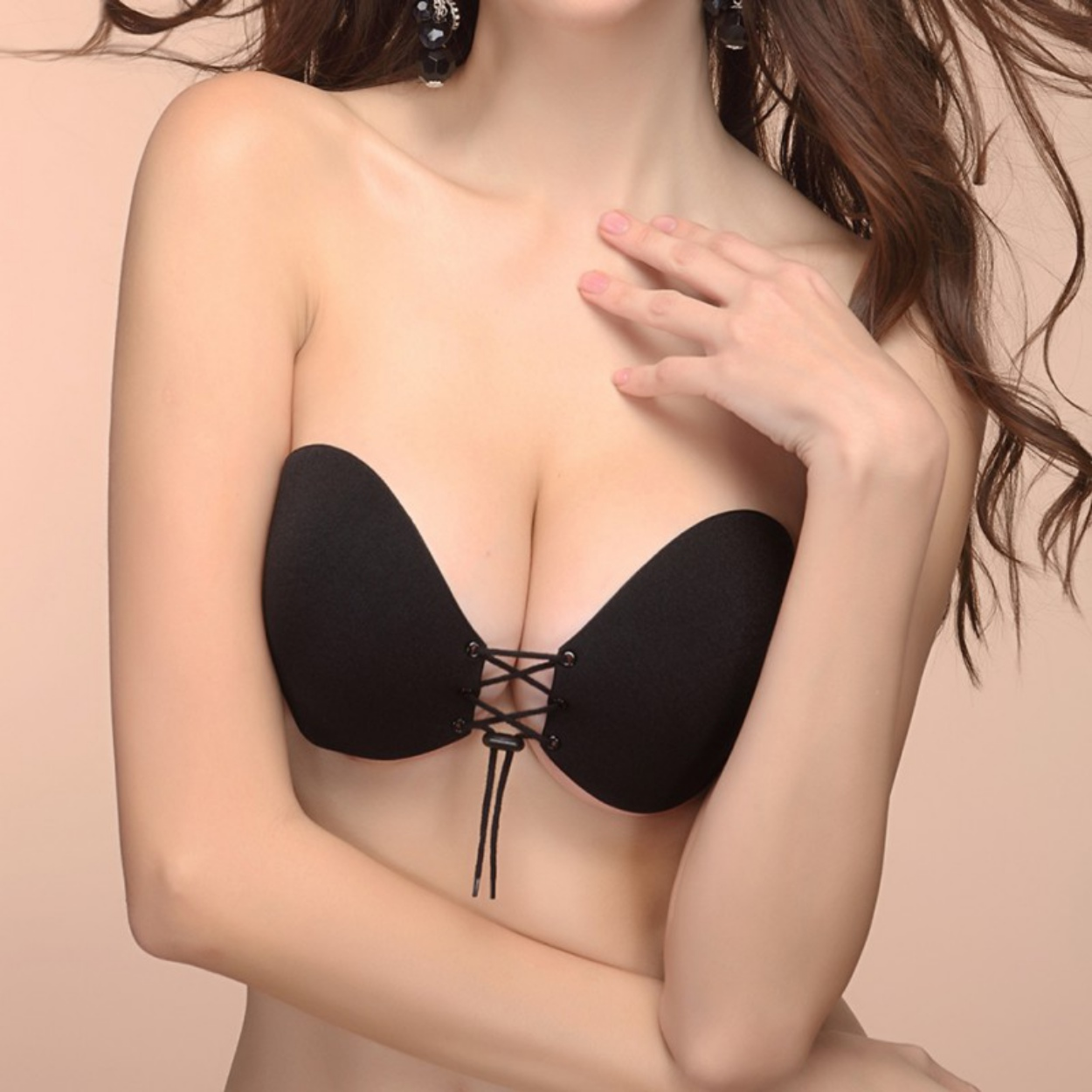 Women Silicone Strapless Lady Bra Invisible Push Up Stick On Self Adhesive Front Lacing Bras Lingerie Cup