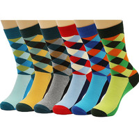 6 Packs Men Colorful Dress Socks Warm Funny Color Argyle High Fun Sock,Multicoloured,One Size