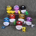 8pcs/set 7CM 1Pcs Pokeball + 1Pcs Free Random Little Elf Figure Pikachu Poke Ball PVC Action Figures Toys in Box