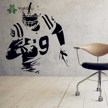 цена на American Football Vinyl Wall Decal - Sport Kids Boys Wall Sticker Interior Home Decor Art - Soccer Athlete Mural Design NY-27