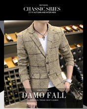 2017 autumn new tide male small suit Slim woolen lattice suits for casual jacket