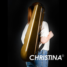 High quality Italy Christina violin case 4/4 violin carbon fiberglass case gold color Violin accessories with two bows holders(China)