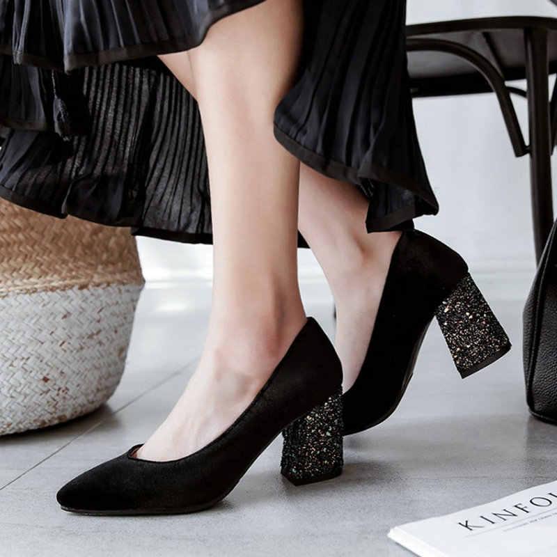 ae81c151ae79 ... Sianie Tianie velour velet classic woman pumps shoes green burgundy  stilettos glitter bling block high heels