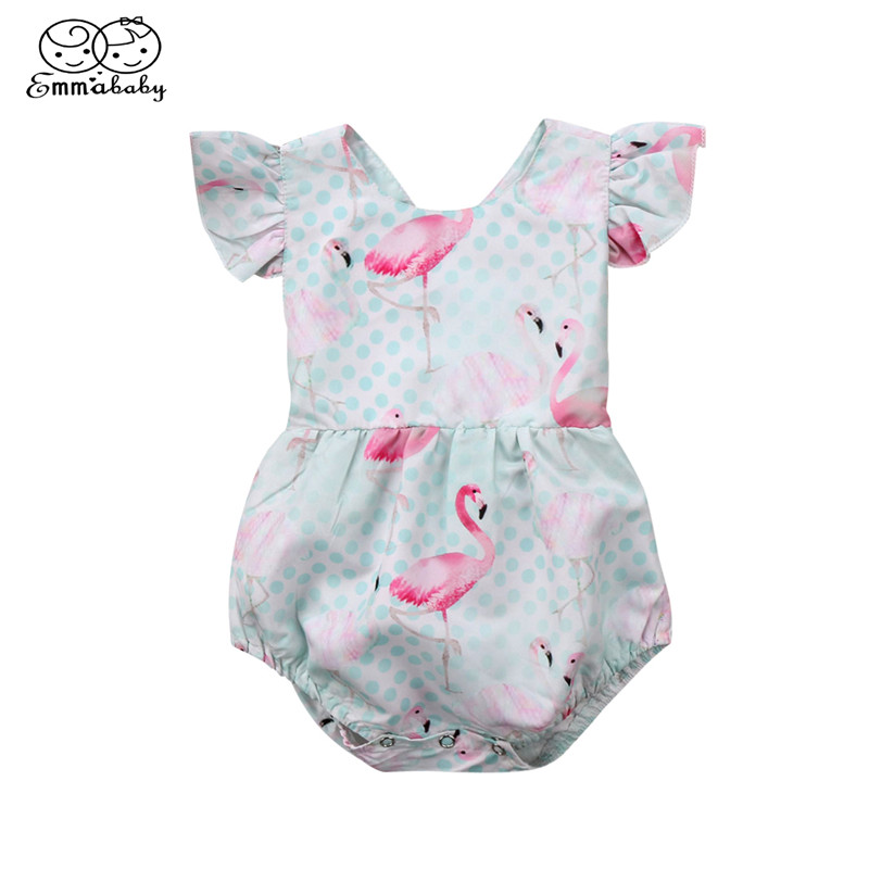 Baby Girl Back Cross Romper 2018 Newborn Infant Kids Girl Short Sleeve Romper Flamingo Printed Jumpsuit Summer Hot Baby Clothing summer newborn infant baby girl romper short sleeve floral romper jumpsuit outfits sunsuit clothes
