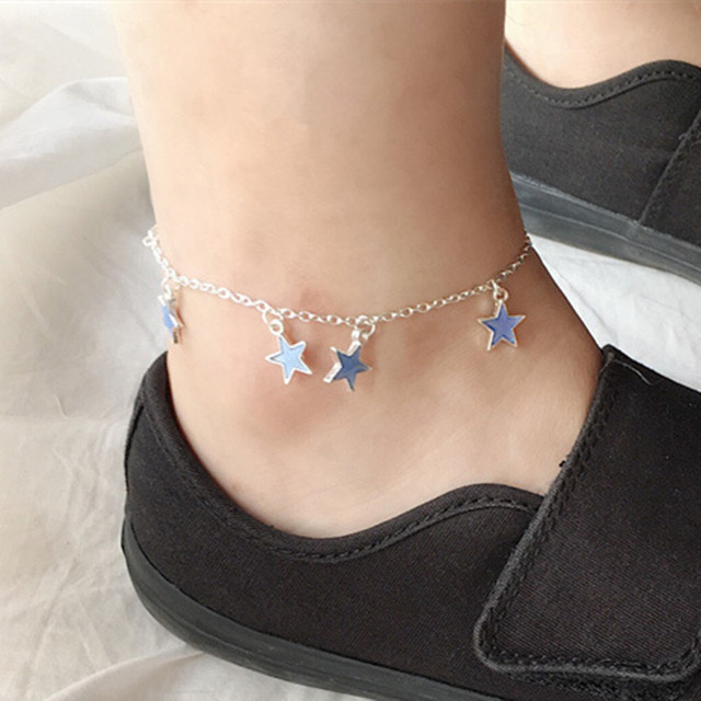 7de95fcf21c 2019 New Summer Foot Jewelry Women Glow In The Dark Star Chain Anklet  Luminous Ankle Bracelet