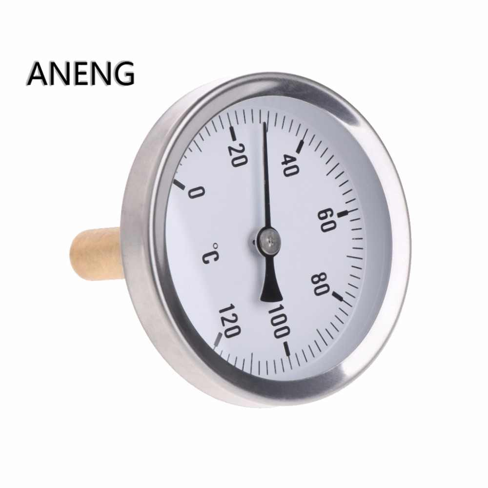 ANENG 63mm Dial Horizontal Thermometer Aluminum Temperature Gauge Meter Liquid Water