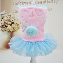 Bajila dog clothes winter princess dress pet clothes for small dogs and cats cat skirt warm coat pink blue